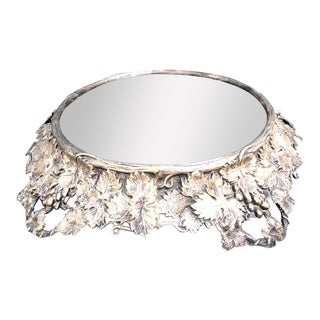 Silver Leaf & Grape Arthur Court Style Mirrored Round Pedestal Tray For Sale