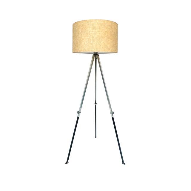 Aluminum & Wood Tripod Floor Lamp - Image 1 of 6
