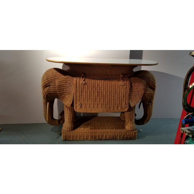 Brown 1980's Mario Torres Style Wicker Elephant Bar For Sale - Image 8 of 8
