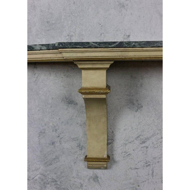 French Painted and Gilt Wall-Mounted Console with Green Marble For Sale - Image 4 of 10