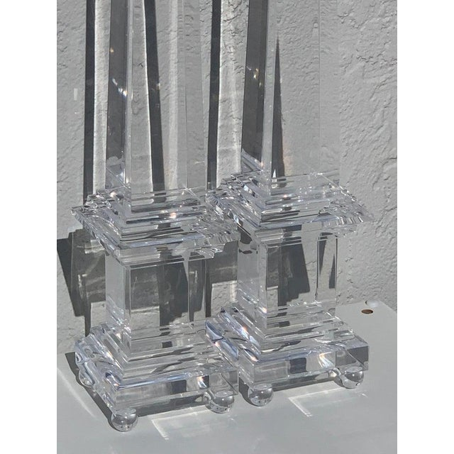Monumental Pair of Footed Lucite Obelisks For Sale In Atlanta - Image 6 of 13