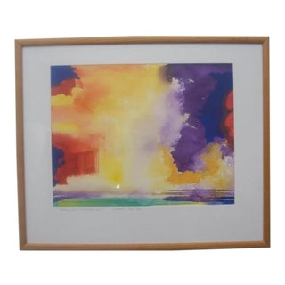 """Watercolor Painting Key West Sunsets Series """"Evening Sun as No Where Else"""" Signed by Frank Monaco For Sale"""