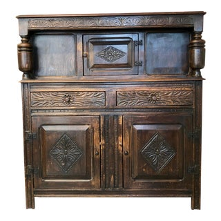19th Century English Oak Carved Sideboard Bar Cabinet For Sale