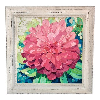 Framed Pink Peony Painting Collage For Sale