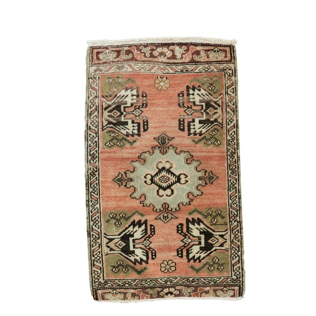 "Vintage Turkish Oushak Mat - 1'9"" x 2'10"" - Image 1 of 7"