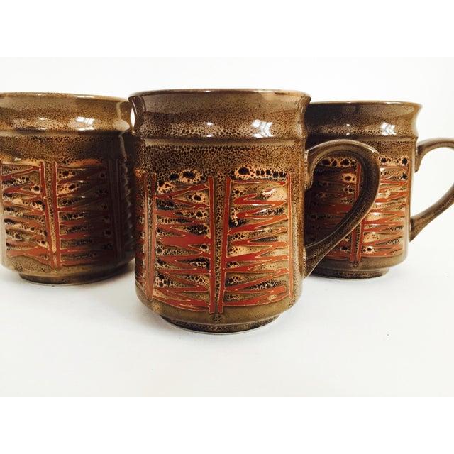 Boho Chic Mid Century Japanese Pottery Mugs - Set of 4 For Sale - Image 3 of 5
