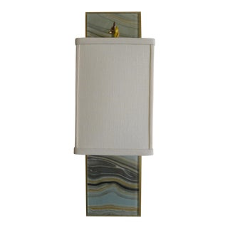 Modern Brass and Marbleized Wall Sconce V1 by Paul Marra For Sale