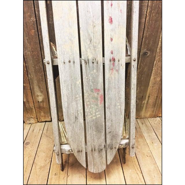 Vintage Weathered Wood & Metal Runner Sled -- Lightning Guider For Sale - Image 4 of 11