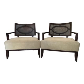 Barbara Barry Realized for Henredon Open Oval Cane Lounge Chairs- a Pair For Sale