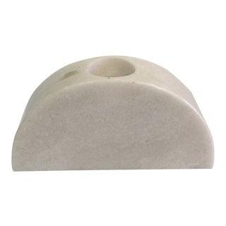 White Polished Marble Candleholder Objet For Sale