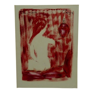 """Lady in Red Nude"" French Painting on Paper"