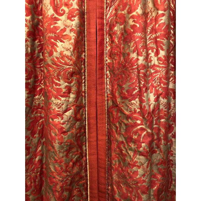 Italian Pair of Genuine Fortuny Gold & Orange-Red Curtains Drapes W Silk Verso For Sale - Image 3 of 8