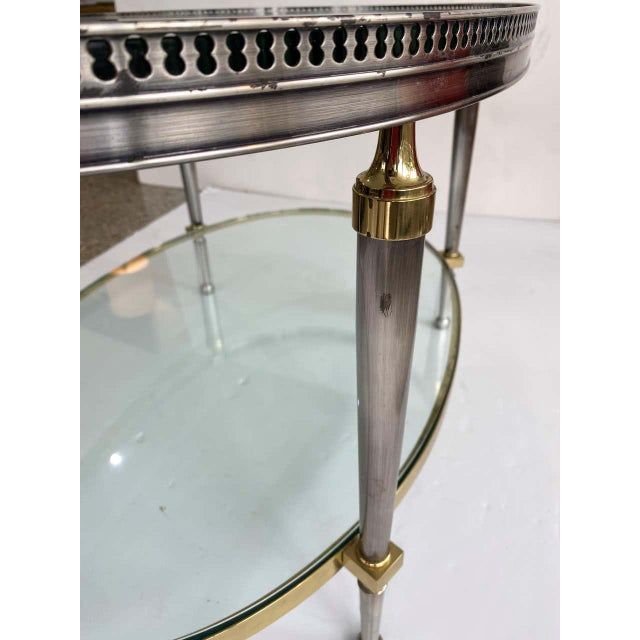Trouvailles Furniture Inc. Trouvailles Steel Glass and Brass Oval Cocktail Table For Sale - Image 4 of 13