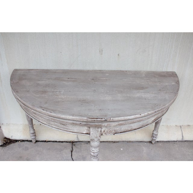 Late 19th Century Antique French Demi-Lune Console For Sale - Image 11 of 13