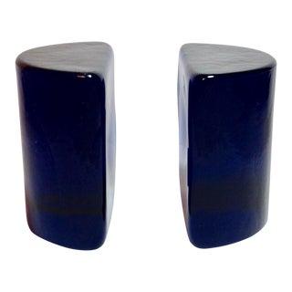 Blenko Cobalt Blue Half Circle Bookends - a Pair For Sale