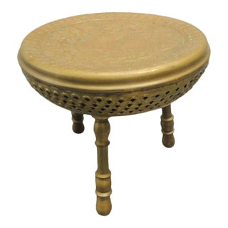 Vintage Round Brass Indian Stool With Tripod Legs For Sale