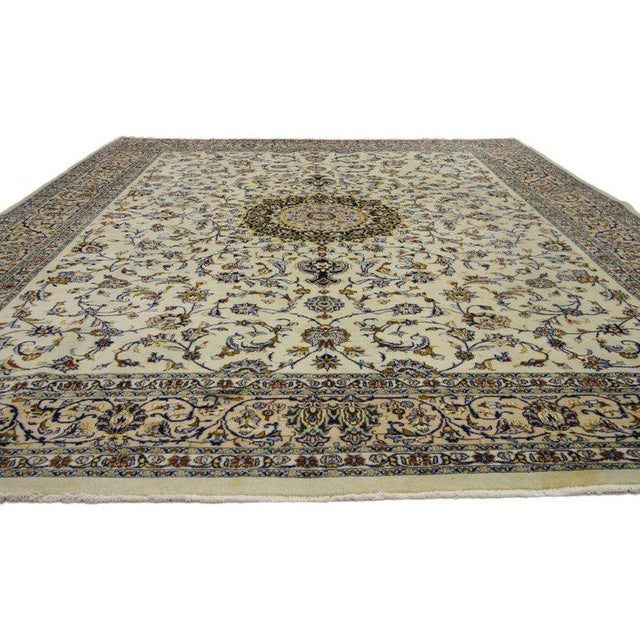 French Vintage Persian Najafabad Rug With Light Colors - 9′9″ × 12′2″ For Sale - Image 3 of 6