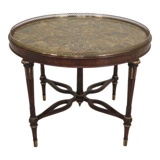 Maitland Smith Regency Marble Top Round Center Table For Sale