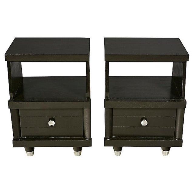 Mid-Century Modern 1960s Black Lacquered Nightstands, Pair For Sale - Image 3 of 8