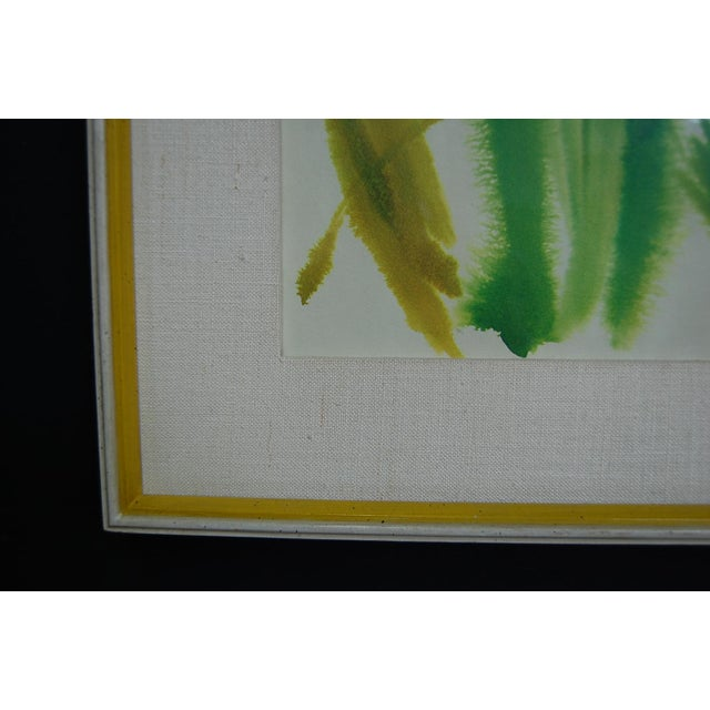 Tropical Leaves Framed Water Color by Norma Green For Sale - Image 9 of 9