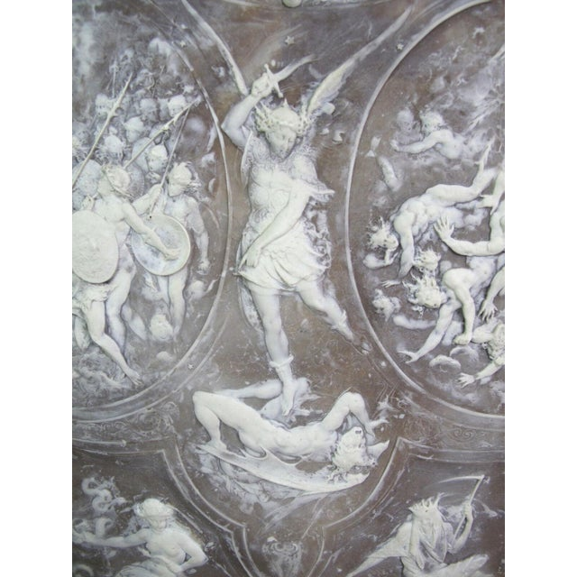 Italian Milton Cameo Shield Poem Paradise Lost War in Heaven Scene Agate Wall Hanging For Sale - Image 3 of 10
