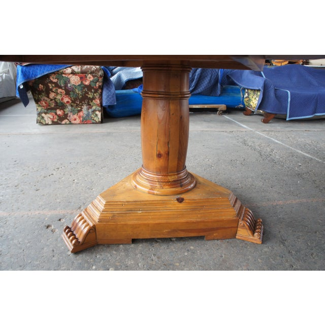 Rustic Ralph Lauren Distressed Pine Pedestal Table For Sale - Image 10 of 13