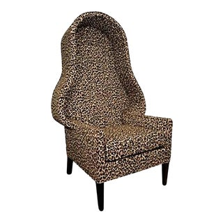 Hollywood Regency Leopard Print Canopy Chair For Sale