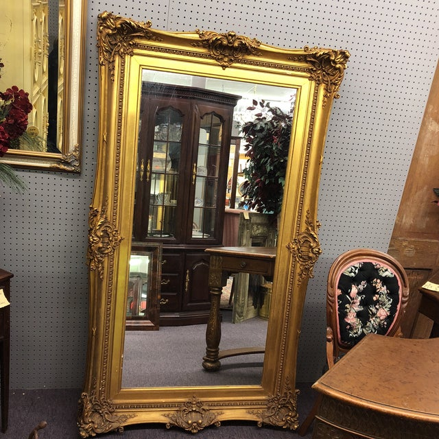 Gold Large Gilded Acanthus Detail Floor Mirror For Sale - Image 8 of 8