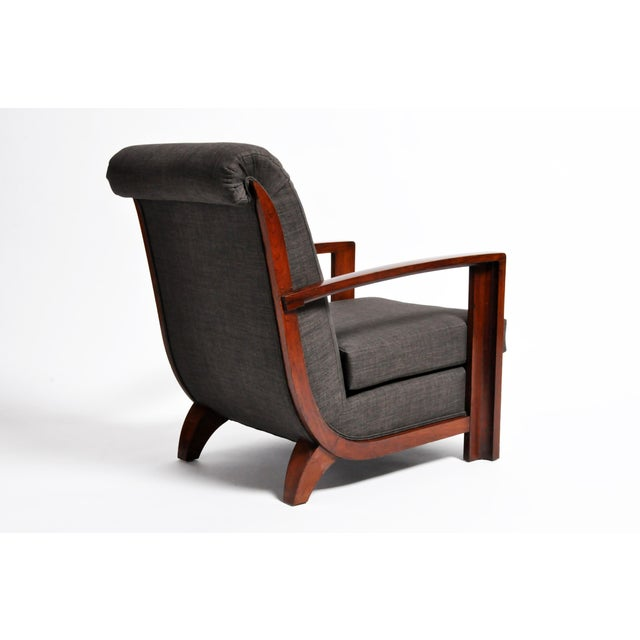 1940s Hungarian Art Deco Solid Walnut Chair For Sale - Image 5 of 12