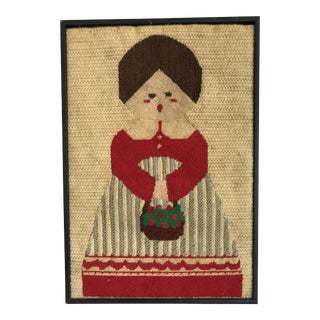 Vintage Crewel Needlepoint Swedish Scandinavian Girl Holding A Fruit Basket