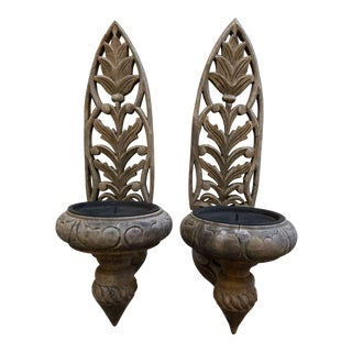 Pair Carved Wooden Sconces