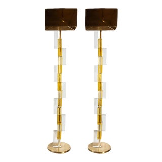 Modernist Brass & Hand Blown Murano Glass Floor Lamps with Polished Brass Shades - a Pair For Sale