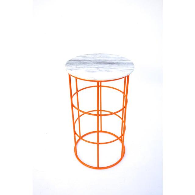 Carrara Marble & Orange Metal Fern Stand Pedestal Table - Image 3 of 11