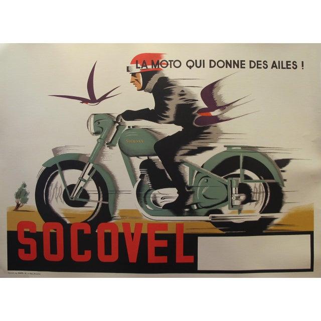 1940s Belgian Art Deco Motorcycle Poster For Sale