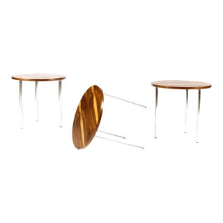 1960s Danish Modern Poul Nørreklit for Petersen Walnut Round Nesting Table Set - 3 Pieces For Sale