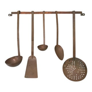 Vintage Dutch Copper Utensils and Rack