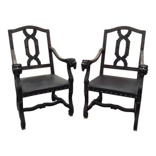 1950s Vintage German Lion's Head Gothic Chairs - A Pair For Sale