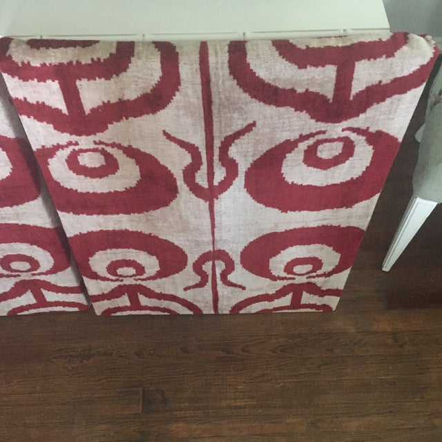 Silk Velvet Ikat Ottoman Fabric Wall Art Hangings - A Pair For Sale - Image 9 of 11