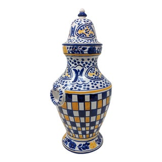 Hand Painted Blue, Yellow and White Covered Urn Vase For Sale