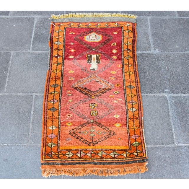 Doormat Rug Vintage Turkish Oushak Hand Knotted Rug Wall Hanging Home Home Office Decor Entrance Rug Pure Wool Small Size...