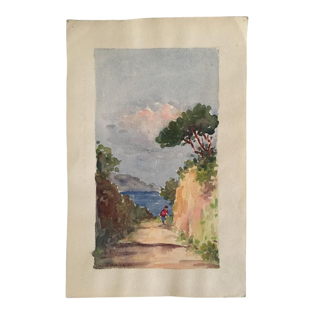 Vintage French Ocean Watercolor - Image 1 of 4