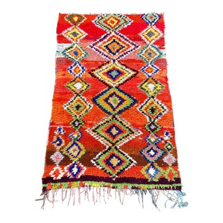 1980s Moroccan Vintage Boucherouite Rug For Sale
