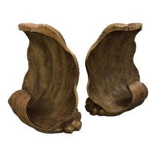 20th Century Wood Carved Shell Dining Table Bases - a Pair For Sale