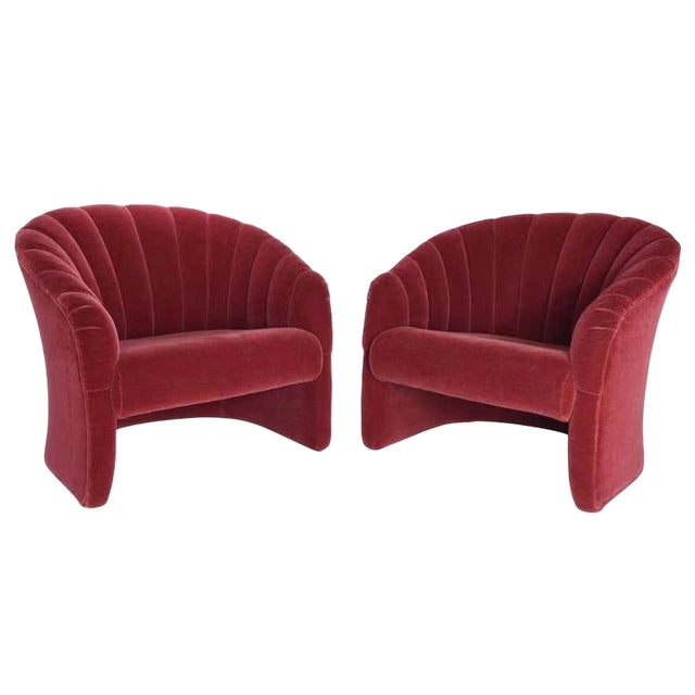 Red Mohair Barrel Back Lounge Chairs, 1970 - a Pair For Sale