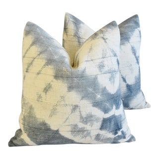 """Boho Chic Blue-Gray/Cream Off-White Mali Tribal Feather/Down Pillows 22"""" Square - Pair"""
