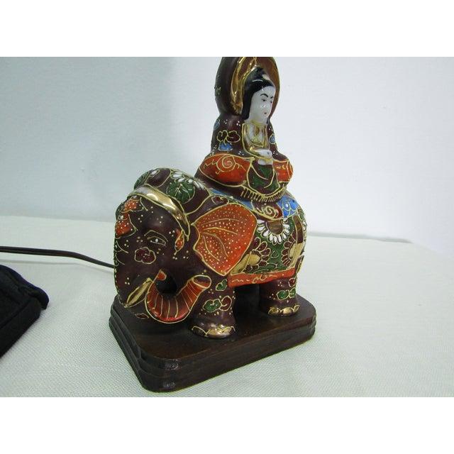 Late 20th Century Vintage Enamel Satsuma Moriage Elephant Lamp With Shade For Sale - Image 5 of 7