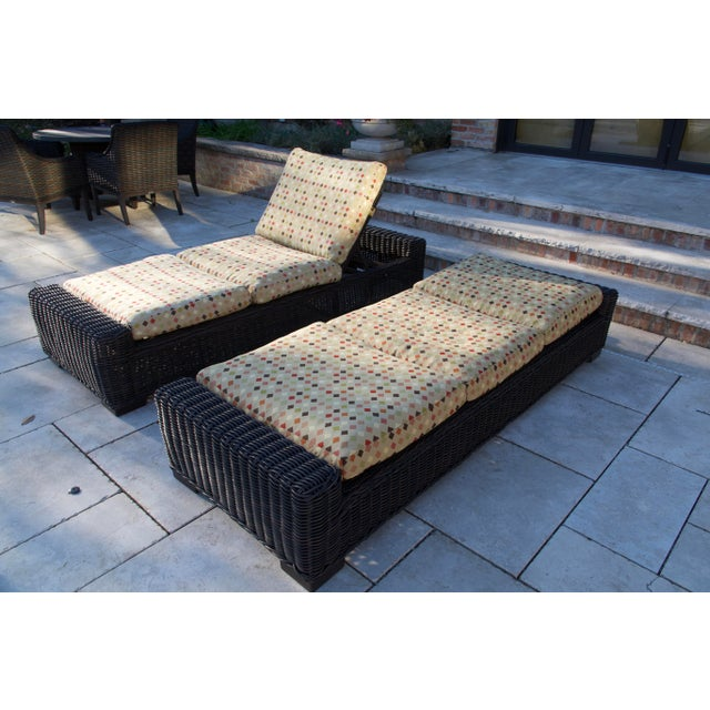 Transitional Summer Classics- Rustic Woven Chaise Lounge and Cushion For Sale - Image 3 of 13