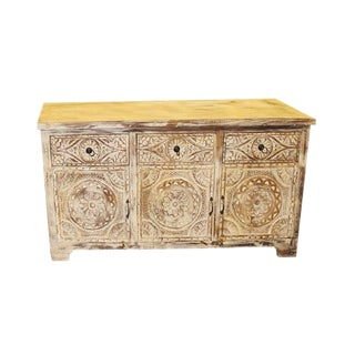 1920s Art Nouveau Whitewashed Floral Hand Carved Mandala Chest For Sale