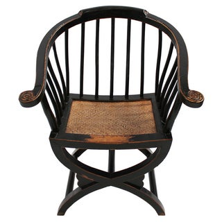 Carved Wood Curule Arm Chair For Sale