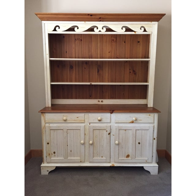 Knotty Pine Kitchen Cabinets For Sale: Ethan Allen Farmhouse China Cabinet & Hutch